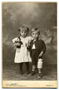+~+~ Antique Photograph ~+~+ Adorable siblings, she has her sweet doll and he carries a toy milk bucket.