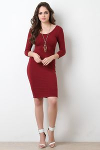 Simple Stretchy Knit Scooped Midi Dress $26.33