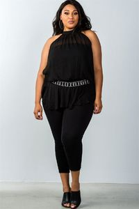 Plus Size Halter Neck Rhinestone Belt Top $24.00