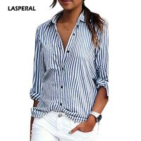 LASPERAL 2018 New Autumn Women Striped Long Sleeve Shirt Turn-Down Collar Loose Blusas Femme Casual Tops Sexy Tee Plus Size 3XL $21.99