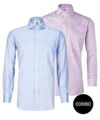 Lavender Stripes and Blue Herringbone 2 Ply Regular Fit Cotton Shirt Combo Pack �'�2499.00