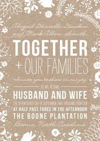 "cool idea for invitation wording. maybe ""mr & mrs (name) and mr & mrs (name) invite you to share in their joy as their children (groom) & (bride) become husband and wife""."