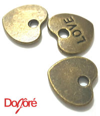 Pack of 50 Bronze Coloured Love Tags. Brown Heart Charms 9mm x 10mm Romance Jewellery Pendants £5.59
