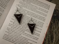 Black Triangle Earrings with hypoallergenic Earring Hooks, Stain glass, Witchy Earrings, Festival juwelry, Boho Style, Witchcraft jewelry $29.00