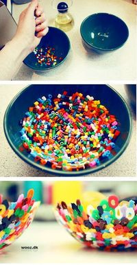Holed plastic cylinder beads are the best type of beads to use when making bowls. Plastic cylinder beads melt when heat is applied and are a uniform size, so th