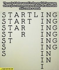 Fun with words: the only 9=letter word you can remove one letter at a time and still create a word.