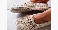 I wondered how it would be to crochet lace with chunky yarn and large hook, on slippers! I think it looks very feminine and pretty! And wa...