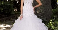 Strapless lace and tulle mermaid gown with sweetheart neckline!