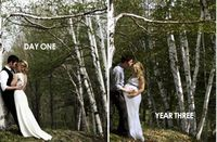 returned to the spot where their wedding photos were taken to capture another milestone