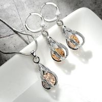 5 Colors Water Drop Pendent Transparent Zircon Cubic Snake Chain Necklace Earrings Jewelry Set $12.99