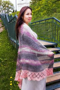 Pastel shine knitted shawl with metal, as plus size Christmas gift for mother in law, eco vegan friendly clothes for women $55.00