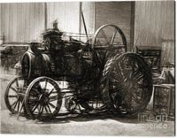 Vintage Industrial Farmhouse Wall Art | Fine art black and white digital pencil drawing on a turn of the century steel agriculture tractor at vintage industry shed. Industrial age line sketch | #industrialdesign #farmhouse #tractors #blackandwhite #agricu...