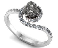 Twist Silver Flower Ring Love Ring Rose Floral Ring Promise Ring Unique Engagement Ring with Side Diamonds $299.30