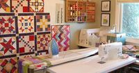 State of my Sewing Room by RhubarbPatch, via Flickr love the quilt blocks on the wall. great to see work in progress