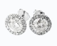 Halo Round Earrings White Gold Earrings Stud Earrings Moissanite surrounded with Diamonds 14K Earrings Wedding Jewelry Anniversary Gift $1635.00