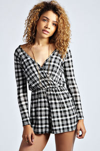 Effie Monochrome Checked Wrap Over Playsuit