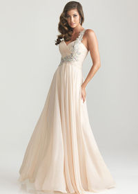 Champagne Beaded One Strap Long Prom Dresses