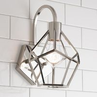 Young House Love Geometric Diamond Sconce Add a modern edge to your home with the geometric diamond design of this Young House Love sconce. Check out our matching flush mount and lantern to complete the look! Available in Chrome or Bronze. 60 watt max med...
