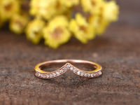 Rose Gold Diamond Wedding Band Anniversary Ring Curved Chevron V 14k Matching Pave Set
