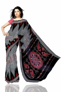 Pretty traditional grey coimbatore mercerized cotton silk tie&dye saree