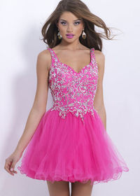 Pink Tulle A Line Thick Straps Jeweled Crystals Homecoming Dresses