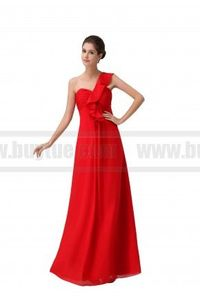 One-Shoulder Chiffon Red Evening Bridesmaid Party Dress