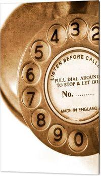 Vintage Reception Canvas Art | Grungy Old Textured Antique Turn Dial Telephone | #vintageart #oldstyle #telephone #reception #officedecor #businessart #homeofficeideas #oldphone #retro #phone #interiordecor #dial