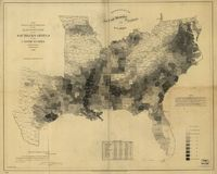 This map, made by the U.S. Coast Survey in 1861 using census data from 1860, shows the relative prevalence of slavery in Southern counties that year.