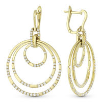1.15ct Round Cut Diamond Pave Circle Stack Dangling Earrings in 14k Yellow Gold