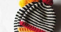 """PATR�""""N DE GANCHILLO Rayas blanco y negro y un estallido de color brillante que esta super fácil patrón un divertido y rápido regalo para"""