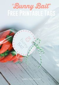 Bunny bait free printable tags, a great Easter treat with free printable tags!