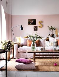 Pale pink half-painted wall- I would actually consider pink the way it's done here if I ever had a girl.
