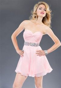 Cheap Beading Short Pink Homecoming Dresses 2014
