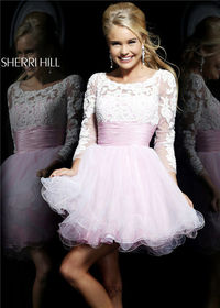 Pink Ivory Long Sleeved Lace Prom Dresses Sherri Hill 21234