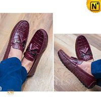 CWMALLS® Houston Embossed Leather Tassel Penny Loafers CW707135 [Leather Loafers Reviews, Global Free Shipping]