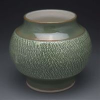 Green Crackle Handmade Porcelain Moon Vase $30.00