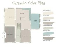 A whole house paint color plan for an open concept home.