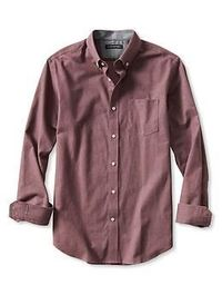 Slim-Fit Red Luxe Flannel Button-Down Shirt // size M