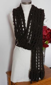 Beautiful Hand Crocheted Lacy Dark Brown Shawl / Scarf by MysticBazaar for $40.00