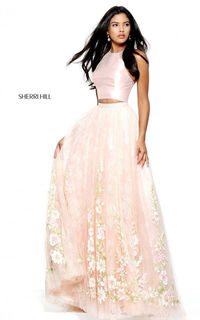 Blush Sherri Hill 50965 Two Piece Lace Halter Long Prom Dress
