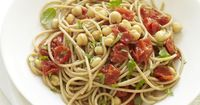 Spaghetti with Roasted Tomatoes, Chickpeas, and Basil #recipe