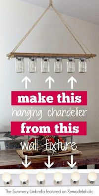 DIY chandelier from Hollywood-style vanity light | The Summery Umbrella on