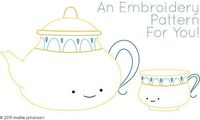 Wild Olive - Teatime Embroidery Pattern (would be cute stitched on gingham)