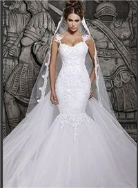 Berta Sexy Luxury Backless Lace Sheer Tulle A-line Covered Button Spaghetti Straps Winter Wedding Dresses