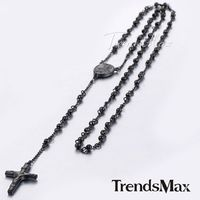 Trendsmax Mens Chain Womens Black Tone Bead Rosary Stainless Steel Cross Pendant Necklace $49.95