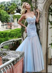 Sherri Hill 11155 Long Strapless Blue Nude Floral Lace Tulle Evening Gown