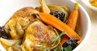 An easy main dish recipe that perfectly blends slow cooked chicken thighs with plums, baby carrots, and onions.
