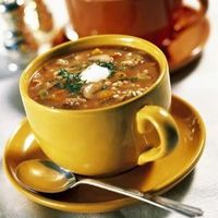 Beef Barley Soup Recipe: beef or veal Shanks, onion, carrot, celery, tomato purée, barley, unsalted butter, cremini mushrooms, garlic, salt, pepper, fresh dill, flat leaf parsley and optional sour cream.