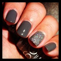 Rimmel grey. Subtle detail. Add your own sparkly polish to your gel manicure to stretch it by a week.
