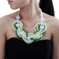 Fashion Jewelry Chain Green Resin Pearl Crystal Choker Chunky Statement Bib Necklace